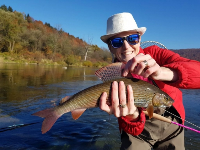 Grayling cought on pink rod by Agness - great flytier and angler.