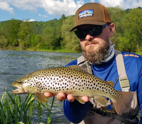 Patagonia cap and nice Brown Trout  - fly fishing in Europe