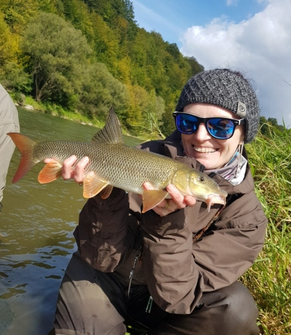 Happy angler- barbel on the fly Fishing trip