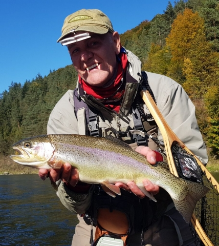 Smile face Simms Fishing, Rinbow trout Dunajec River - Poland