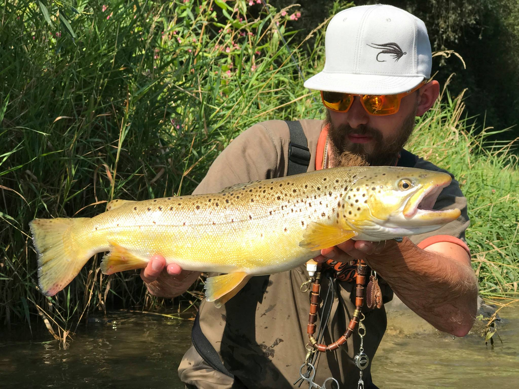 Wet fly fishing for Brown trout Dunajec River fly fishing Poland