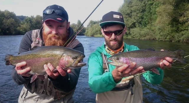 Double catch - Vah River - fly fishing Slovakia