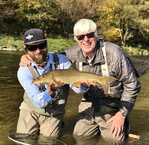First barbel on the fly - fly fishing trips Poland