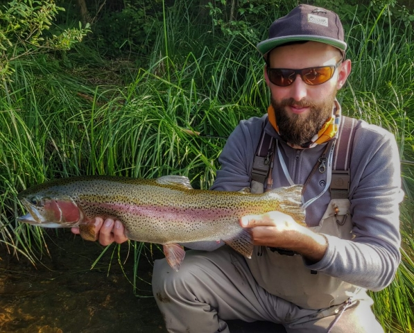 Vah River and small scud which cought rainbow trout