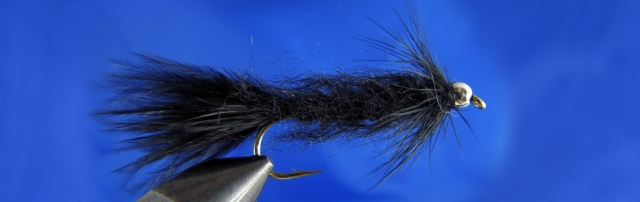 Leech for trout, marabou tail, black dubbing body, black hen feather, gold tungsten bead
