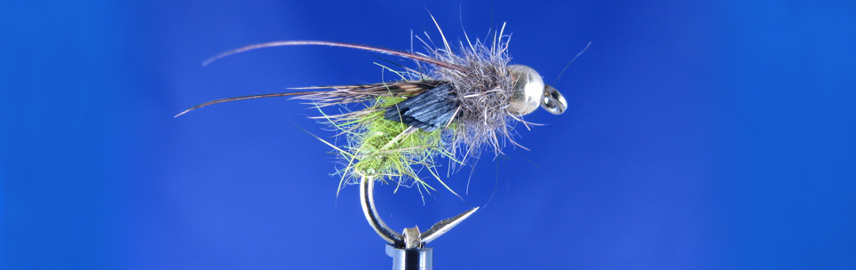 Pupa for June fishing, Green caddis colour dubbing, pheasant tail, partridge feathers , hare dubbing