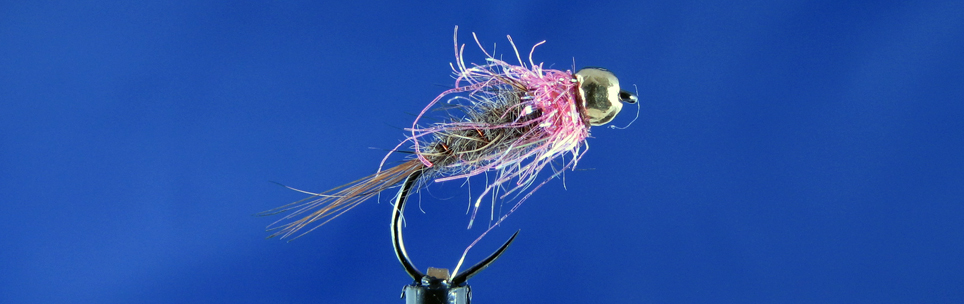 Small trout Nymph Akita Hook, Hare's mask dubbing, Hends spectra dubbing, gold tungsten bead