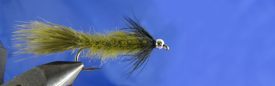 Olive leech for trout, Olive marabou, TMC hooks, Black hen hackle