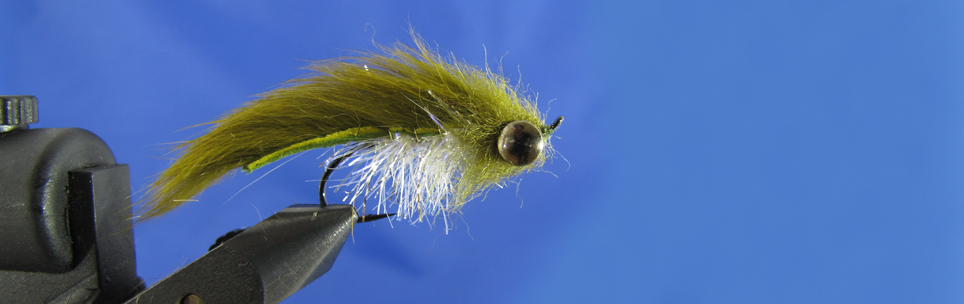 Heavy streamer for brown trout. Olive zonker, Brush body