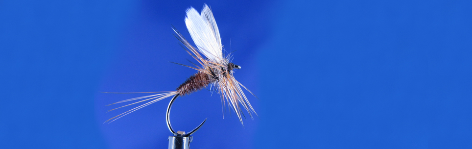 Classic dry fly, Veevus 8/0 thread, Hanak hooks, duck white wing