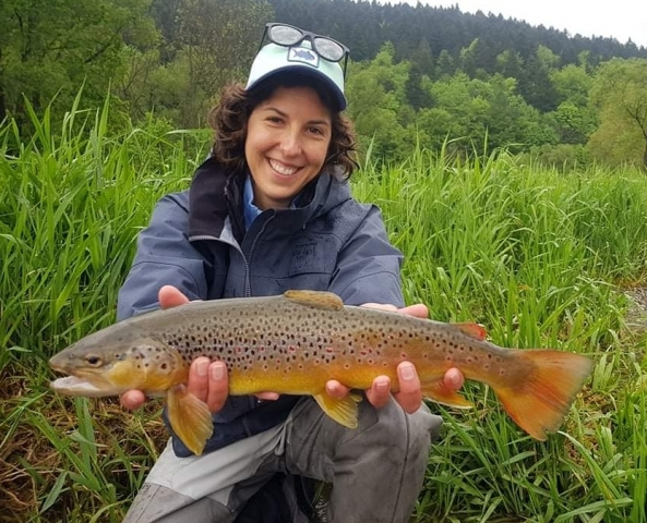 Nice Brownie cought with our fly fishing guide (Czech Nymphing)