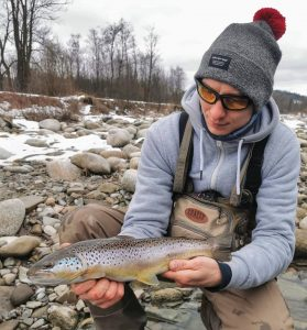 Brown trout fishing in small mountain rivers.